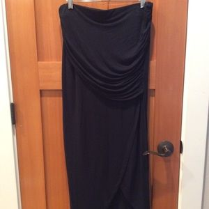 CAbi black split skirt